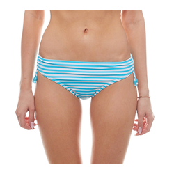 Esprit Badehose ESPRIT Badehose gestreifte Damen Bikinihose mit Raffung Bademode Türkis 42