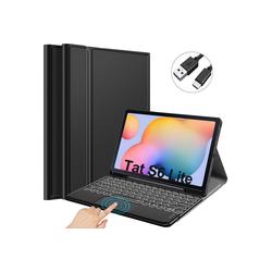 IVSO Tablet-Tastatur für Samsung Galaxy tab S6 lite Tablet-PC 10.5 [QWERTZ Deutsches] Tablet-Tastatur (Beleuchtete Bluetooth Tastatur mit Touchpad) blau
