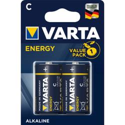 VARTA ENERGY C Batterie, Alkali, Alkaline-Batterie für den einfachen Grundbedarf, 1 Packung = 2 Stück, Babyzelle