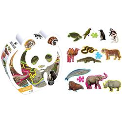 WWF Steckpuzzle WWF 12x Tierform Puzzle Set, 48 Puzzleteile