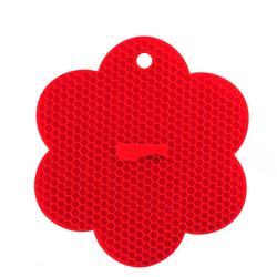 KOCHBLUME Waben-Untersetzer Blume ROT Silikon Topflappen