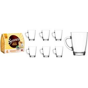 Senseo Kaffeepads Guten Morgen 10 Stk + 6 Gläser mit Henkel