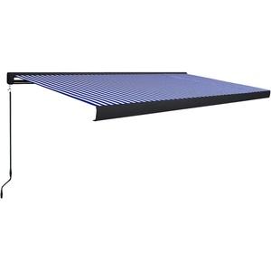 UnfadeMemory Manuelle Kassetten-Markise Sonnenschutz Markise Handbetrieben Kassettenmarkise Gartenmarkise Balkonmarkise mit Wandhalterungen (500x300cm Blau/Weiß, Typ B)