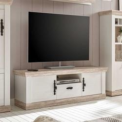 TV Lowboard im Landhaus Design Pinie Weiß