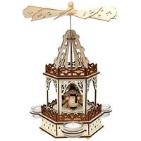 SIGRO Holz Teelichtpyramide 2 Etagen Schneemänner