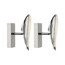 Etc-shop - 2er Set LED Kristall Wandlampen, Wal-Design, Chrom, PRN