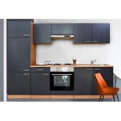 RESPEKTA Küchenzeile Basic, mit Edelstahl-Kochmulde, Breite 270 cm grau