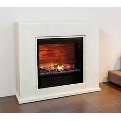 Casa Padrino Luxus Kamin mit LED Kamineinsatz Cremeweiß 119,5 x 33,5 x H. 101,5 cm - Luxus Elektrokamin mit Fernbedienung