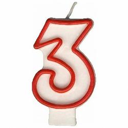 Zahlenkerze, Geburtstagskerze `3`, 75 mm, 1 Stk.