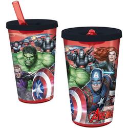 p:os Becher Trinkbecher mit Strohhalm Avengers