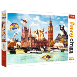 Trefl Puzzle Funny Cities Hunde in London 1000 Teile Puzzle, 1000 Puzzleteile