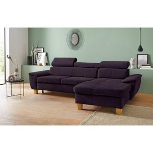 exxpo - sofa fashion Ecksofa, inklusive Kopt- bzw. Rückenverstellung, wahlweise mit Bettfunktion und Bettkasten lila 280 cm x 79 cm x 167 cm