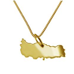 schmuckador Kette mit Anhänger 50cm Halskette + Türkei Anhänger in 585 Gelbgold