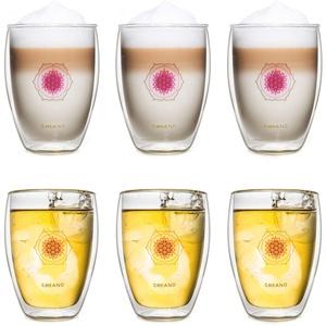 Creano doppelwandiges Tee-Glas, Latte Macchiato, Thermobecher Blume des Lebens   250ml, in exklusiver Geschenkbox 6er Set