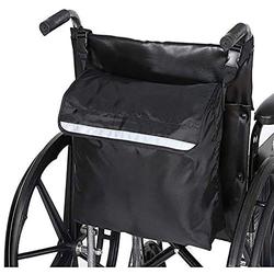 kueatily Aufbewahrungstasche Rollstuhltasche Hinten Wasserdichte Oxford Rollstuhltasche Große schwarze Rollstuhlrucksack-Aufbewahrungstasche mit reflektierenden Streifen für Rollstuhlgriffe