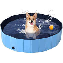 COSTWAY Badewanne Haustierpool Swimmingpool Hundebadewanne Pet Bath Pool blau 120 cm x 120 cm x 30 cm