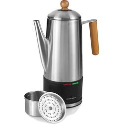 GASTRONOMA Perkolator 18150002 Kaffee-Perkolator Kaffeekocher Kaffeemaschine 1,50 Liter 12 Tassen Edelstahl Holz 1100 Watt, 1.50l Kaffeekanne
