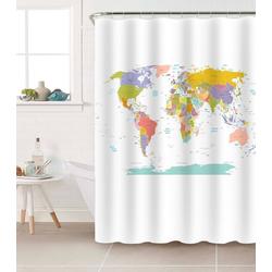Duschvorhang Weltkarte Breite 200 cm, 180 x 200 cm