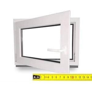 Kellerfenster nach Maß - Kunststofffenster - Fenster - Sondermaße - innen weiß/außen weiß - DIN Rechts - 3-fach - Verglasung - 0,2m2 - 60 mm Profil