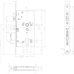 Assa Abloy effeff Mediator Schloss Vollblatt,Dornm.55mm 609-502P
