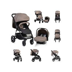 Moni Kombi-Kinderwagen Kinderwagen, Babyschale Sindy 2 in 1, klappbar, Babyschale 0+, Vorderräder schwenkbar natur