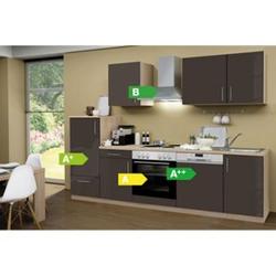 Menke Küchen Küchenzeile Premium Lack 280 cm Lava - 4 Platten Kochfeld