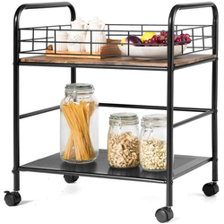 COSTWAY Küchenwagen Küchenrollwagen schwarz 40 cm x 66 cm x 55 cm