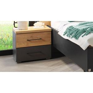Nachttisch modern in Grau mit 2 Schubladen & Metallgriffen - Azra