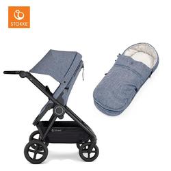 Stokke® Kinderwagen Beat™ Blue Melange inklusive Softtragetasche