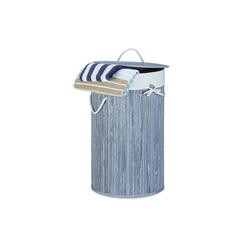 relaxdays Wäschekorb Wäschekorb Bambus rund grau
