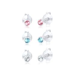 Elli Paar Ohrstecker Kinder Swarovski® Kristalle bunt (6 tlg) Silber, Kristall Ohrstecker
