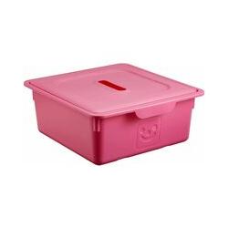 lot de 2 boîtes de rangement pour jouet avec couvercle - Smiley Kids Boxes - KDL-330, rose, 10 L,