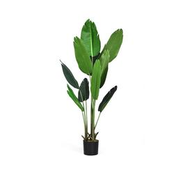 Kunstbaum 160cm Kunstpflanze Künstliche Pflanze Schlangenpflanze Zimmerpflanze, COSTWAY, Tropische Palme Monstera, mit stabilem Topf & 10 Blättern Grün für Garten Büro Zimmer Dekoration