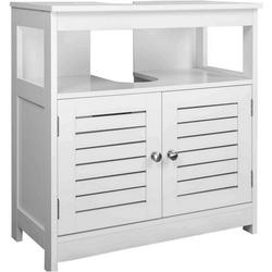 Woltu Waschbeckenunterschrank Waschbeckenunterschrank 2 Türe 60x30x58cm weiß