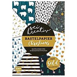 Sei kreativ! - Bastelpapier Christmas - Bastelideen und 30 Bogen Motivpapier in 2 Stärken (120 g/qm  250 g/qm); . - Buch