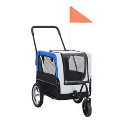 vidaXL Fahrradhundeanhänger vidaXL 2-in-1 Tier-Fahrradanhänger und Jogger Grau und Blau grau