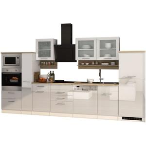 Küchenzeile Küchenblock Einbauküche mit Elektrogeräten 370 cm hochglanz weiss