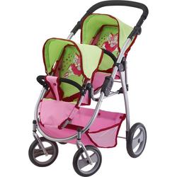 Bayer Puppenwagen Zwillingspuppenwagen grün/pink