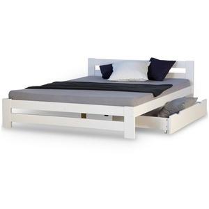 Homestyle4u Holzbett Doppelbett 140x200 Weiß Kiefer Bettgestell, mit Lattenrost und Bettkasten