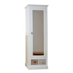Dielenschrank mit Spiegeltür Weiß Braun