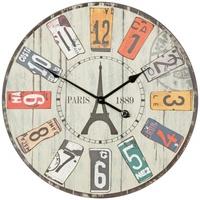 Wohnling Deko Vintage Wanduhr XXL Ø 60 cm Paris Materialmix Holz Metall Große Uhr Dekouhr rund, Design Retro Küchenuhr für Küche & Wohnzimmer