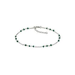 F Fusskette 925/- Sterling Silber Kristall grün 22cm Glänzend