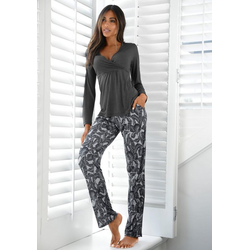 LASCANA Pyjama mit Leaf-Print grau 36/38
