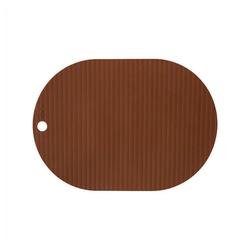 Platzset, Ribbo, OYOY, (2er Set), Tischset Tischschutz Platzdecken Silikon Oval Unterlage Bastelunterlage Malunterlage braun