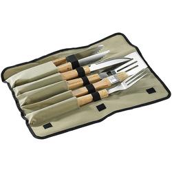 Hochwertiges Grillbesteck, 5-tlg. mit Tasche, Edelstahl mit Holzgriff