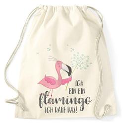 MoonWorks Turnbeutel Turnbeutel Flamingo Ich bin ein Flamingo ich darf das Spruch Pusteblume Moonworks® natur