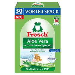Frosch Waschpulver Sensitive Aloe Vera, Pulverförmiges Waschmittel für farb- und gewebeschonende Buntwäsche, 3,3 kg - Vorteilspack für ca. 50 Waschladungen