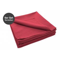 jilda-tex Stoffserviette Serviette 6er Set - Renforce - 100% Bio-Baumwolle, 42x42 cm Bio Baumwolle unifarben Renforce 6er Set rot