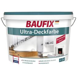 Baufix Wand- und Deckenfarbe Ultra-Deckfarbe, 10 Liter, weiß