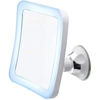 CAMRY CR 2169 Kosmetikspiegel mit Saugnapf und fünfacher Vergrößerung, LED Beleuchtung, Batterie, schwenkbarer Make-Up-Spiegel für Bad, Schminkspiegel, wandmontage, Stand, weiß